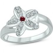 18K White Gold Fn CZ Sterling Silver Ring For Womens Girls
