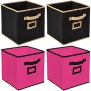 Billion Designer Non Woven 4 Pieces Large Foldable Storage Organiser Cubes/Boxes (Black & Pink) - CTKTC35275 CTLTC035275(Black & Pink)