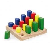 Puzzle sortator 4 forme, jucarie educativa, lemn, Viga
