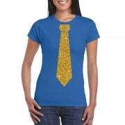 Bellatio Decorations Blauw fun t-shirt met stropdas in glitter goud dames