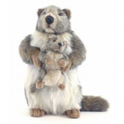 Hansa Pluche marmot met baby 35 cm