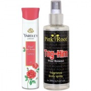 Yardley Red Roses Refreshing Body Spray 150ml and Pink Root Tag-Him Pour Homme Fragrance body Spray 200ml Pack of 2