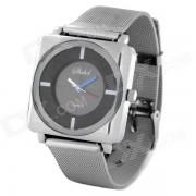 Steel Band elegante reloj de cuarzo analogico de pulsera para la Mujer - Negro + Plata (1 x 377)