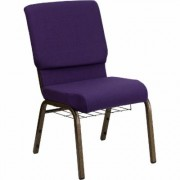 Flash Furniture Fabric Church Chair with Cup/Book Rack - Royal Purple w/Gold Vein Frame, 19 1/4Inch W x 25Inch D x 33 1/4Inch H, Model FDCH185GVROYB