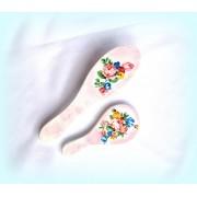 Set perie si oglinda - model floral 1029