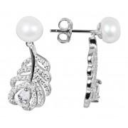 JwL Luxury Pearls Perlové náušnice peříčka s bílou pravou perlou a zirkony JL0536