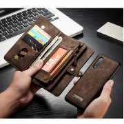 CASEME 008 Series 2-in-1 Multi-slot Wallet Vintage Split Leather Phone Case for Samsung Galaxy A50 - Brown