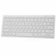 Teclado inalambrico de 78 teclas Bluetooth V3.0 - Blanco + gris plateado (frances / 2 x AAA)