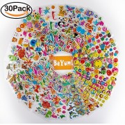 3D Puffy Sticker, BeYumi 30 Different Sheets Kids Stickers(1000+ Count) Removable Puffy Stickers For Kids, Toddlers & Teachers, Including Animals, Dinosaur, Emoji Expression