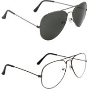 Zyaden Aviator, Aviator Sunglasses(Black, Clear)