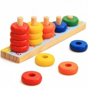 Trinkets & More - Rainbow Calculation Counting Stacker Math Toy (15 Pieces)   Number Learning Stacking Rings   Early Educational STEM Toys for Toddlers Kids 18 Months +