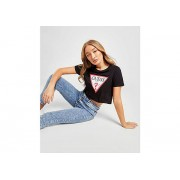 GUESS Icon Crop T-Shirt Dames - Black - Dames