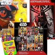 Star Wars Coloring Book with Crayons 1000 Stickers and Lenticular Puzzle 4 in 1 Value Set Featuring The Force Awakens Characters: BB-8 Kylo Ren Rey Captain Phasma Stormtroopers and more