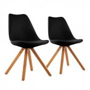 OneConcept Onassis, fekete, kagylóüléses szék, 2 darabos készlet, retro, kárpitozott, nyírfa (DTF4-Onassis-Black)