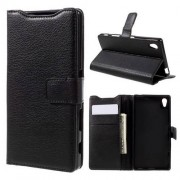 FLEXI notesz tok / flip tok - FEKETE - asztali tartó funkciós, oldalra nyíló, rejtett mágneses záródás, bankkártya tartó zseb, szilikon belsõ - SONY Xperia Z5 / Z5 Dual