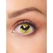 Vegaoo Fledermaus-Kontaktlinsen Superheld schwarz-gelb