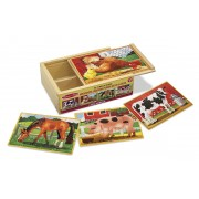 Set 4 puzzle lemn in cutie Animale domestice