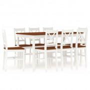 vidaXL 9 pcs conjunto de jantar em madeira de pinho branco e castanho