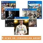 Игра FIFA 18 Ronaldo edition за Playstation 4+Игра Far Cry 4+Игра GTAV (GTA5): Grand Theft Auto V+Игра Mortal Kombat X+Игра For Honor
