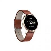meidly-smart watches Reloj Inteligente electrónico para Mujer con presión Arterial de Lujo, Reloj Inteligente para Hombres, Reloj de teléfono de Moda Android iOS, Una Talla, Cuero marrón