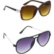 Hrinkar Over-sized Sunglasses(Violet, Brown)