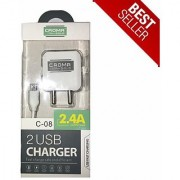 2.4A Dual Port USB Mobile charger for All Smart Phones with 1 meter white USB CABLE