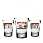 Copos de Tequila Shot Emergência Atenção Inflamável - 3 peças