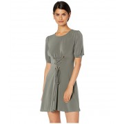 BCBGeneration Day Bubble Sleeve Front Lace-Up Knit Dress Dark Moss