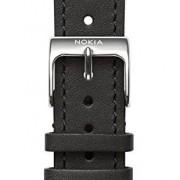 Nokia 4381647 cinturino per orologio Watch strap Pelle, Acciaio inossidabile Nero