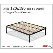 ErgoRelax Rete per materasso a 14 doghe in faggio VIENNA 120x190 con Doppia Barra Centrale cm. 100% Made in Italy