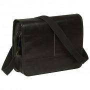 vidaXL Messenger Bag Real Leather Black