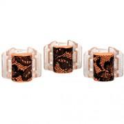 Linziclip Malý skřipec MINI 3 ks - oranžový s krajkou