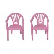 Merkloos 2x Plastic kinderstoelen roze 37 x 31 x 51 cm