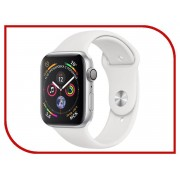 Умные часы APPLE Watch Series 4 44mm Silver Aluminium Case with White Sport Band MU6A2RU/A