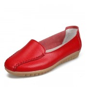 Women Loafers Shoes Casual Outdoor Slip On Leather Flats