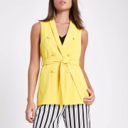 River Island Womens Yellow sleeveless double breasted jacket (Size 8)