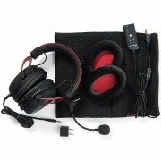 Kingston HyperX Gaming Headset, Cloud II Pro, red, 53mm drivers, USB/3.5mm jack, noise-cancellation microphone, aluminium frame, Audio Control Box, 1m + 2m extension , EAN: 740617235692 KHX-HSCP-RD