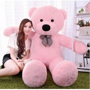 Multi Soft Fabric India Kid's 3 Feet Jumbo Teddy Bear Stuffed Soft Push Toy, Good Quality Fabrics (Pink)