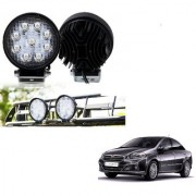 Auto Addict DEVICE 4 inch 9 LED 27Watt Round Fog Light with Flood Beam Auxiliary Lamp Set Of 2 Pcs For Fiat Linea
