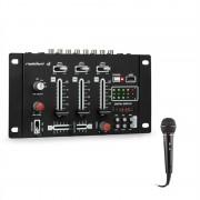 Resident DJ DJ-21 BT DJ-Mixer конзола, комплект, блутут, USB, микрофон, черен цвят (PL_DJ21BT_plus_MIC)