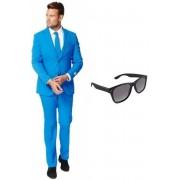Blauw heren kostuum / pak - maat 56 (3XL) met gratis zonnebril