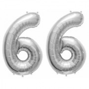 De-Ultimate Solid Silver Color 2 Digit Number (66) 3d Foil Balloon for Birthday Celebration Anniversary Parties
