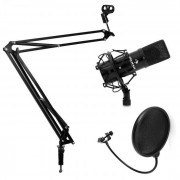 Electronic-Star Set de estudio - Micrófono USB brazo y soporte para mesa negro (PL-6514-11537-11536)