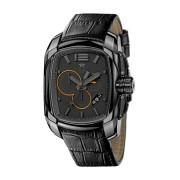 【60%OFF】クロノグラフウォッチ デイト レクタンギュラー レザーベルト 【Medium】 フェイス:ブラック ベルト:ブラック ファッション > 腕時計~~メンズ 腕時計