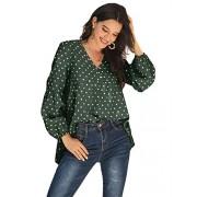 Verdusa Blusa de Cuello en V para Mujer con Estampado de Lunares, Verde, S
