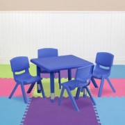 Flash Furniture Kids' Activity Table Set - Blue, 24Inch Square Table, 4 Chairs, Model YCX23SQTBLBLE