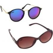 Criba Cat-eye, Oval Sunglasses(Brown, Blue)