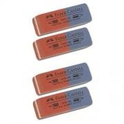 Faber-Castell Cof. 4 Gomme 7070-32 Bi-Colore Per Penne A Sfera E Matita