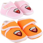 Neska Moda Pack Of 2 Baby Infant Soft Orange and Baby Pink Booties For Age Group 0 To 12 Months SK188andSK190