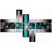 EVA JEKINS Tableaux design metal turquoise abstrait